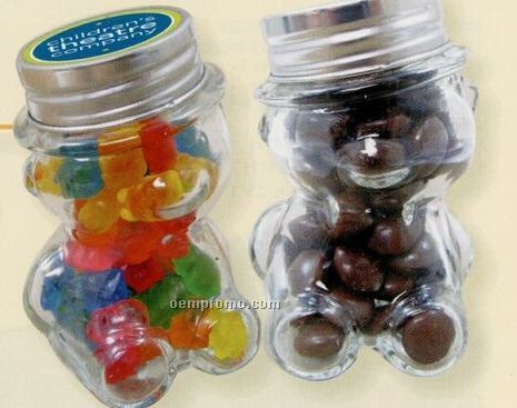 Mini Glass Teddy Bear Jar W/ Chocolate Button