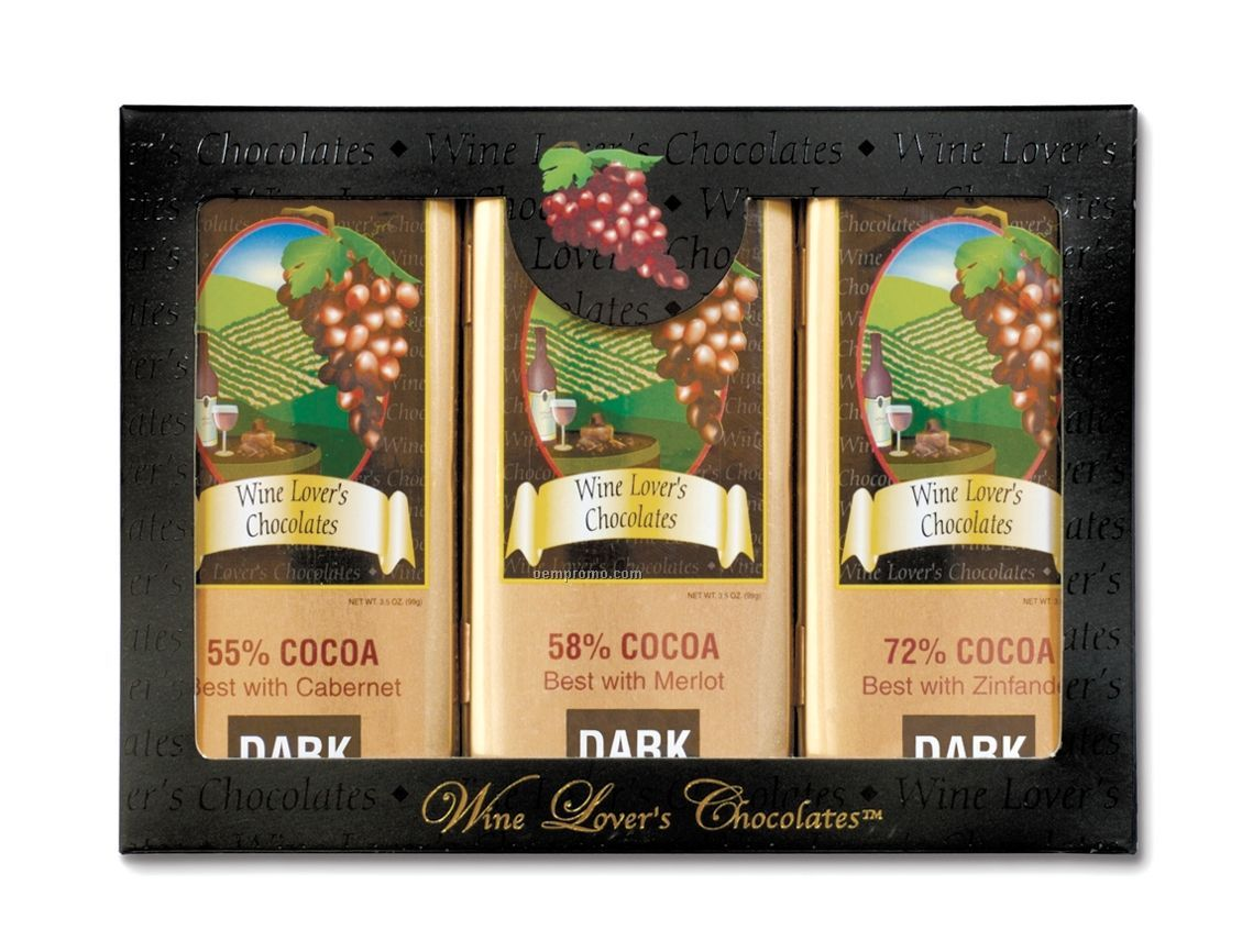 Three Tin Set Of Wine Lover's Collection Gourmet Chocolates