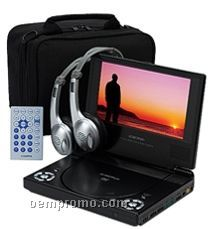 "7"" Lcd Slim Line Portable Slim Line DVD Player With Headphones"