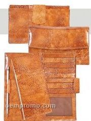 Chocolate Buttercalf Leather Maxi Clutch Wallet