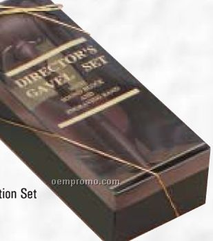 Directors Presentation Gavel Set W/ Sound Block & Engraving Band
