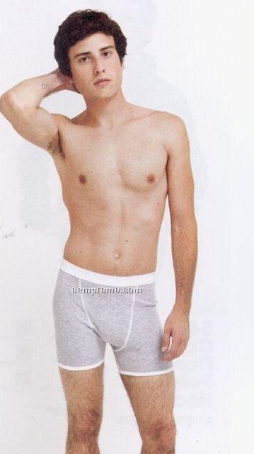 Men's Baby Rib Boxer Brief Underwear - 10% Polyester In Heather Gray
