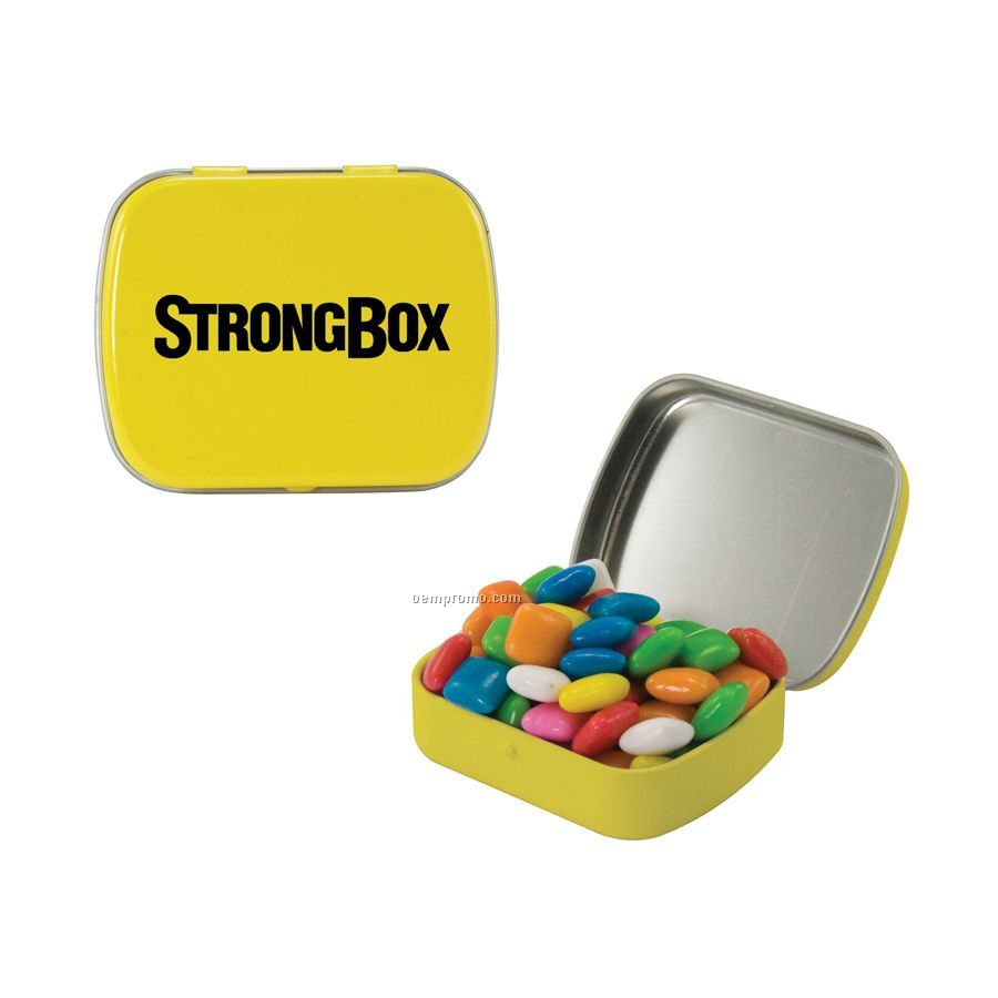 Small Yellow Mint Tin Filled With Gum