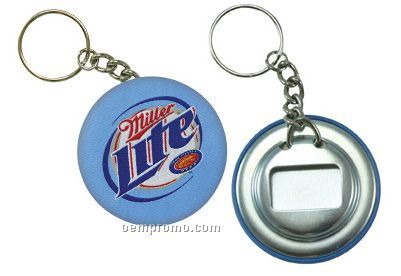 Elite Fabric Button With Bottle Opener & Key Chain