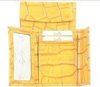 Ladies Croco Calfskin Credit Card Case (Yellow)