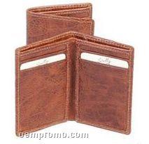 Tan Antique Calfskin Leather Card Case