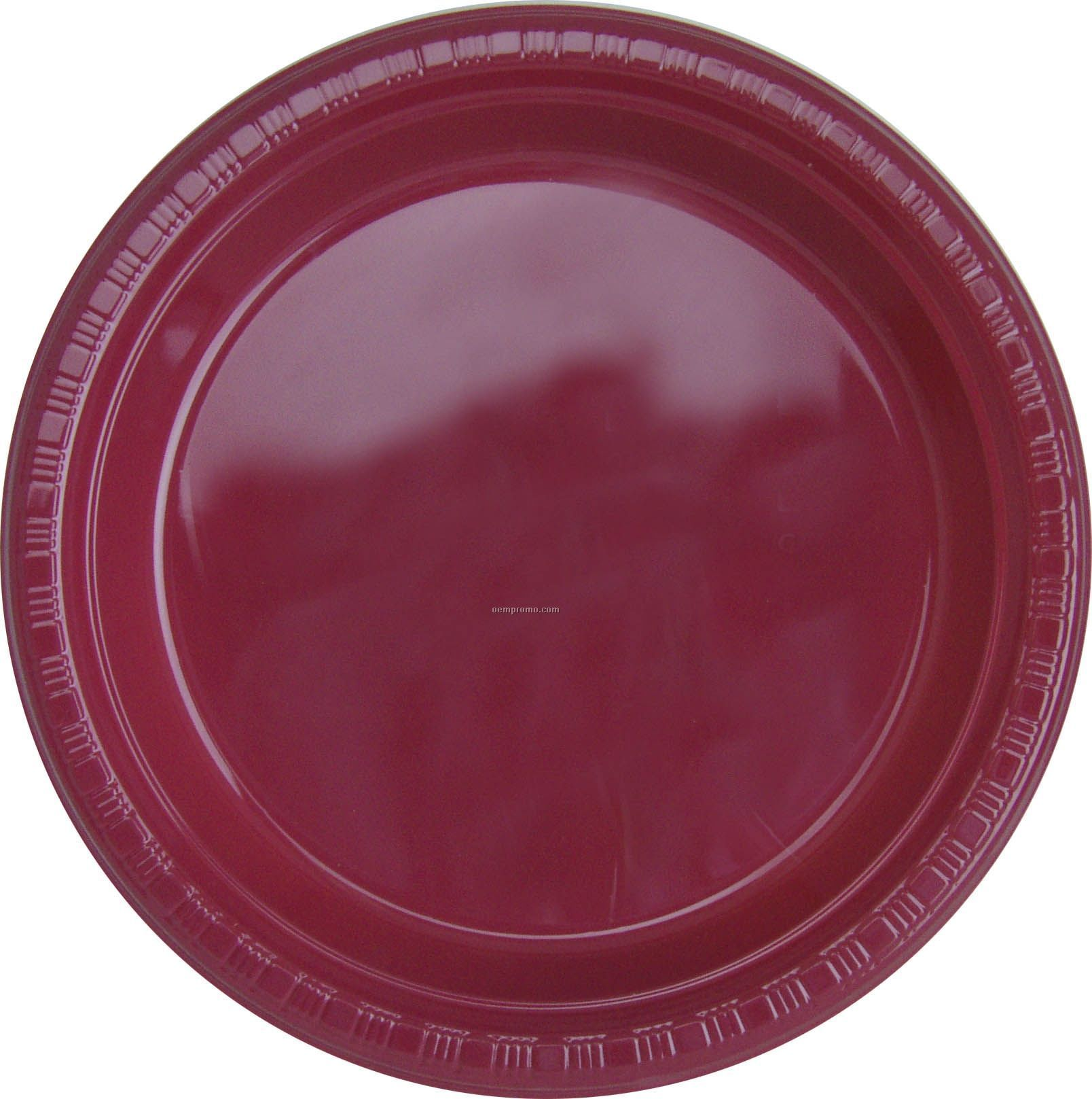 "Colorware 9"" Burgundy Royale Red Plastic Plate"