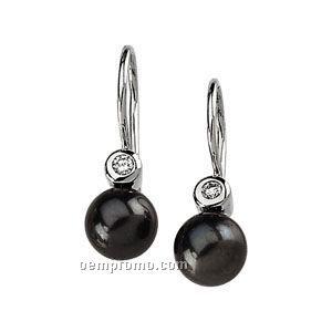 Ladies' 14kw 7mm Cultured Black Pearl & .06 Ct Tw Diamond Round Earring