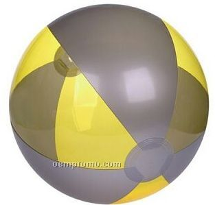 """16"""" Inflatable Translucent Yellow & Silver Beach Ball"""