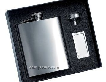 8 Oz. Polished Finish Flask W/ Funnel & Money Clip