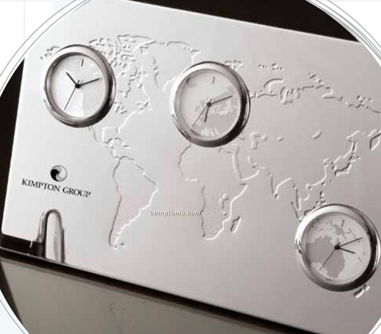 3 Time Zone Desk Clock