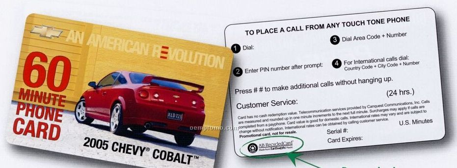 Custom Domestic Prepaid Phone Card (45 Us Minutes)