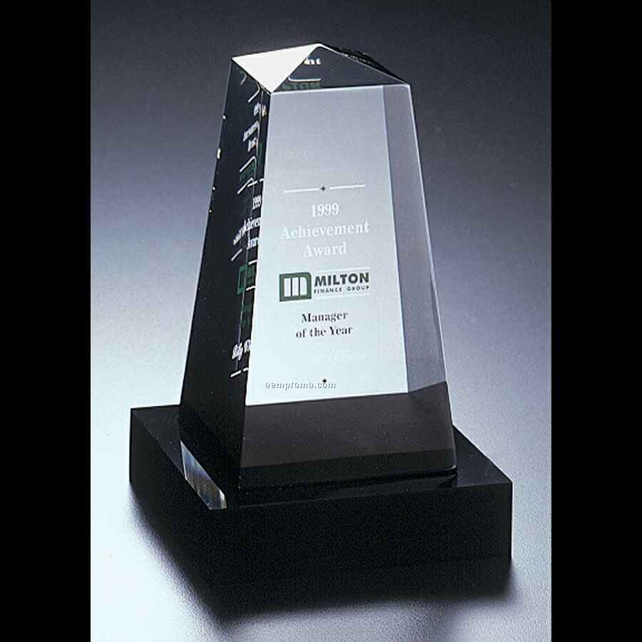 Lucite Obelisk Award W/ Base