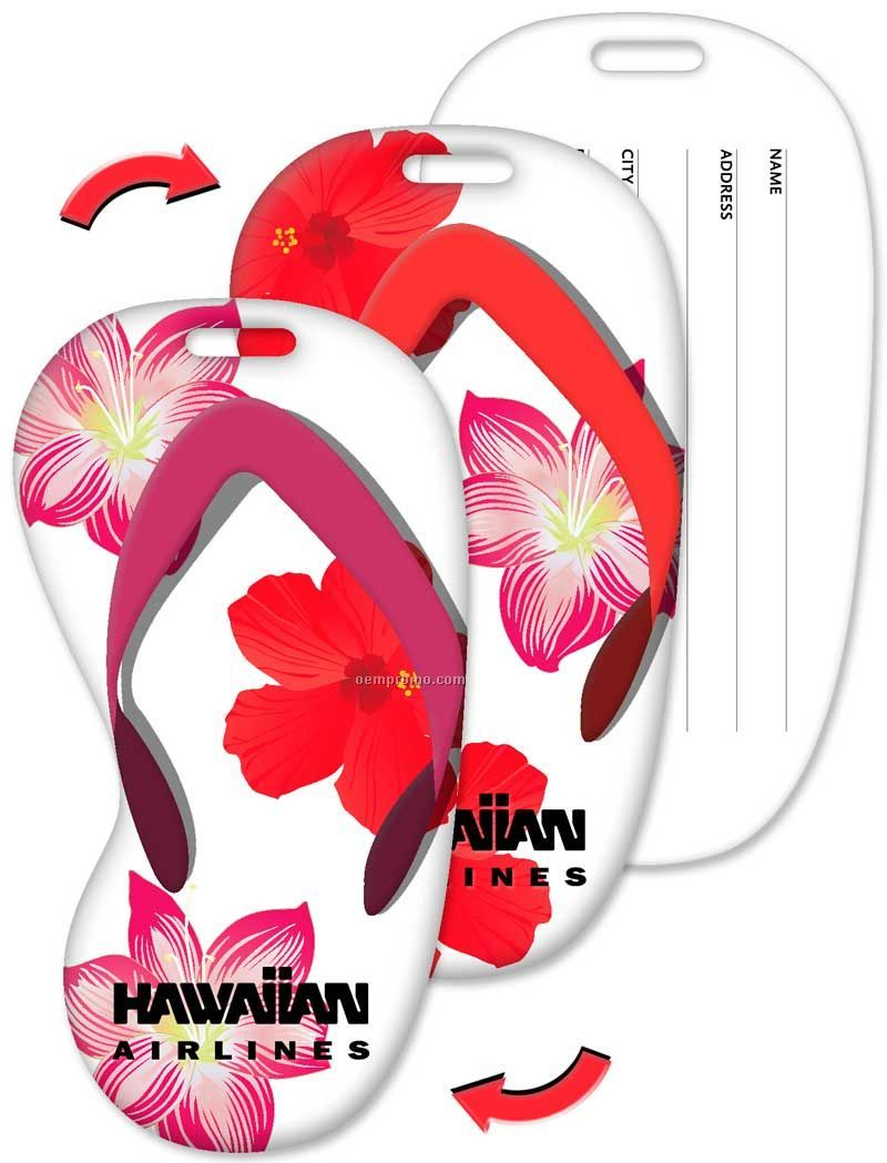 Luggage Tag, Flip-flop Shape, Hawaiian Flowers Stock Design, Imprinted