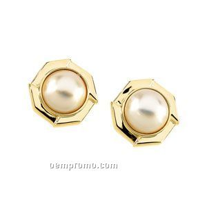 Ladies' 14ky 12mm Mabe Cultured Pearl Earring Octagon
