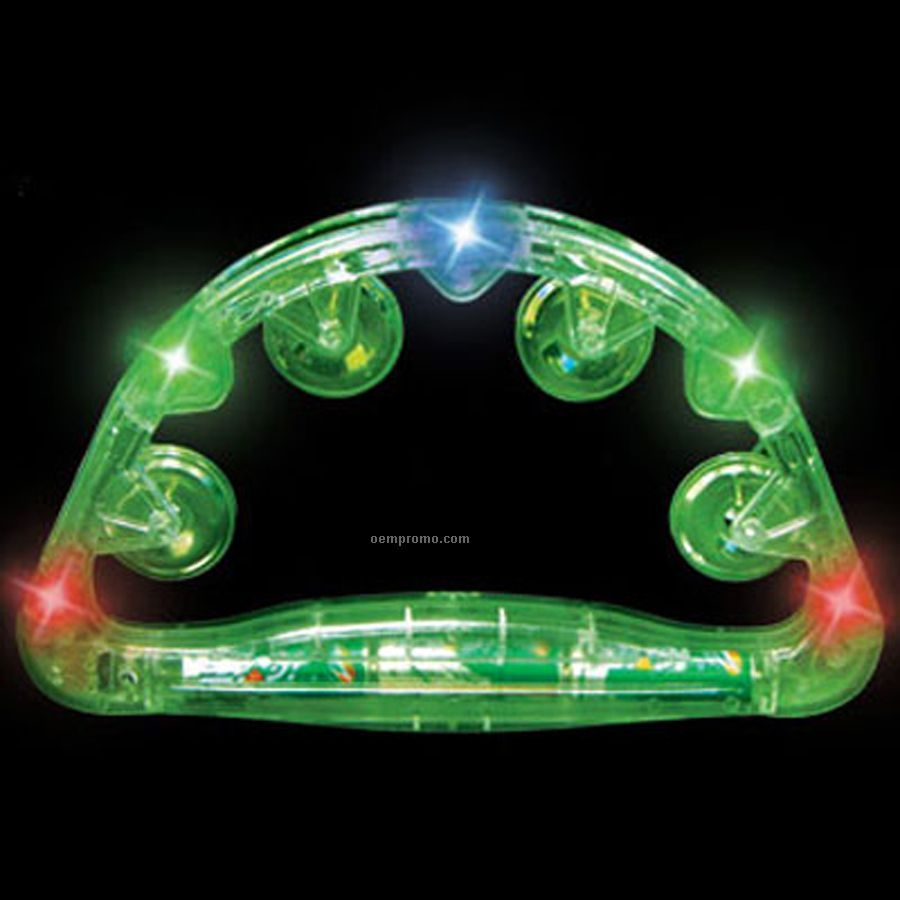 Green Light Up Open Tambourine W/ Multi Color LED