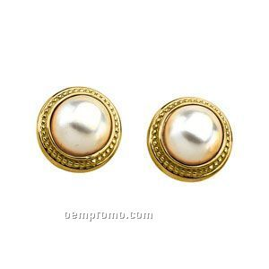 Ladies' 14ky 12mm Mabe Cultured Pearl Earring Bead Edge