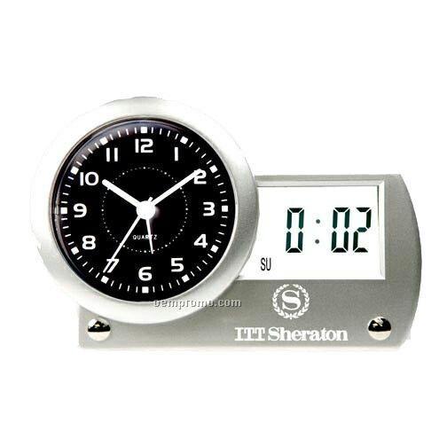 Analog Digital Quartz Alarm Clock With Horizontal Lcd Day & Date Readout