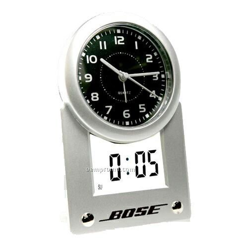 Analog Digital Quartz Alarm Clock With Lcd Day & Date Readout - Vertical