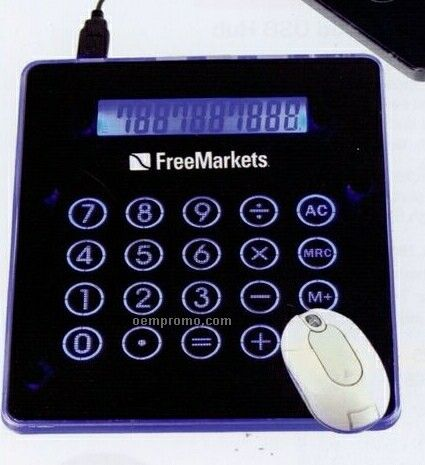 "Illuminated Mouse Pad Calculator W/ 3-port USB Hub (8 1/4""X7 1/8""X3/8"")"