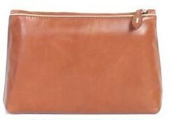 Black Veg Tanned Calf Leather Cosmetic Bag