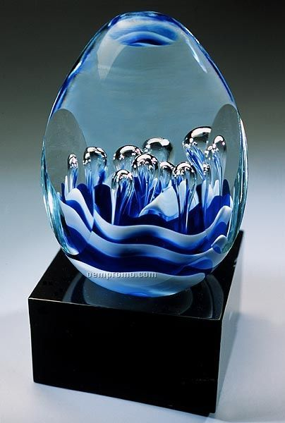 Asian Wave Sculpture W/ Marble Base