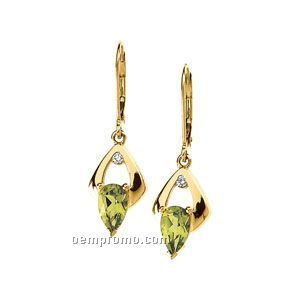14ky 8x5 Genuine Peridot & .06 Ct Tw Diamond Round Lever Back Earring