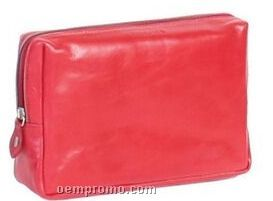 Red Veg Tanned Calf Leather Cosmetic Case