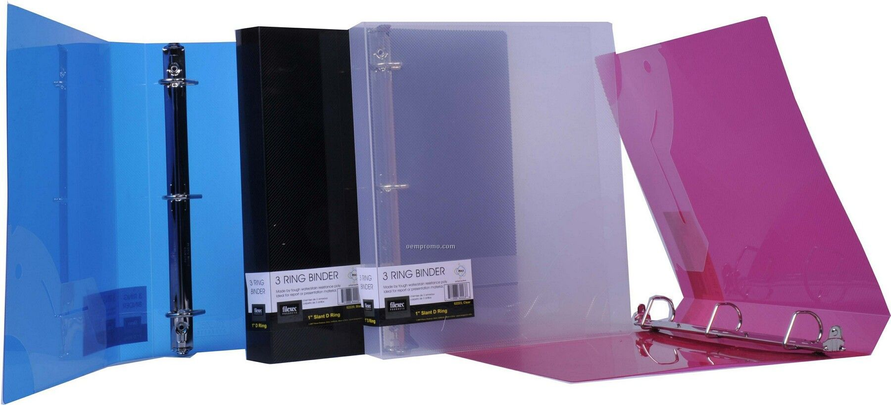 "Translucent Blue D-ring Binder With 1 1/2"" Ring"
