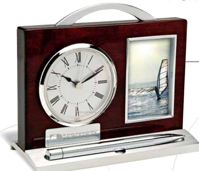 Wood & Aluminum Photo Frame/ Desk Clock/Pen & Pen Holder