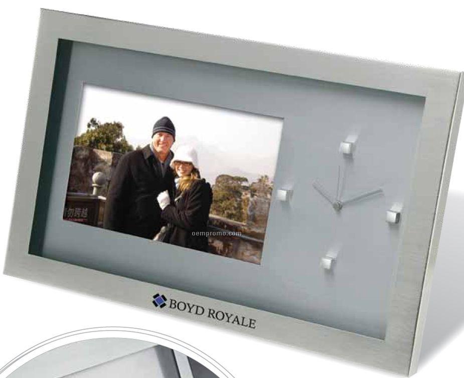 Executive Photo Frame & Clock W/ Brushed Nickel Finish Inset