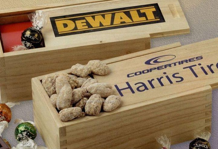Wood Box W/ Sliding Lid - Jumbo Cashews/ Chocolate Almonds