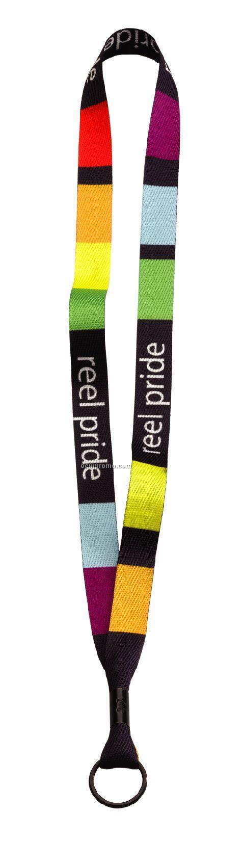 """3/4"""" Rpet Waffle Weave Dye Sublimated Lanyard W/ Metal Crimp & Split Ring"""