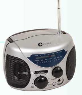 """4-3/4""""X3-1/2""""X3"""" Silver Mini AM/FM Boom Box Radio"""