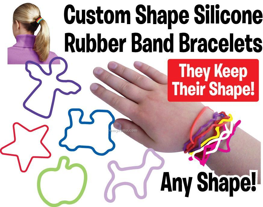 Custom Shaped Silicone Rubber Band Bracelet - Rush Service