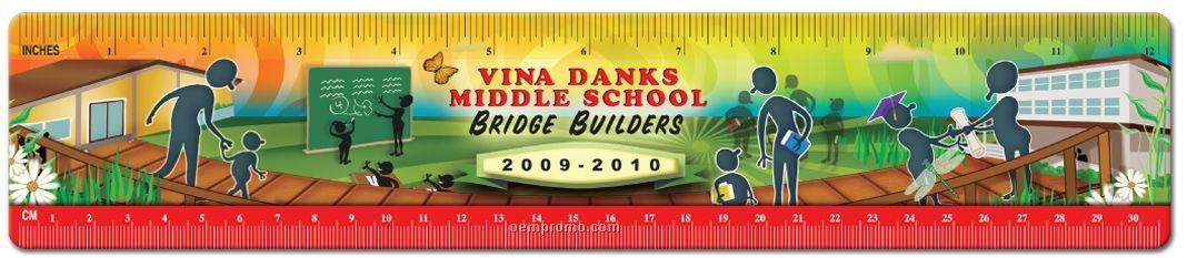 "12"" Plastic Wide Ruler (One Color Front)"