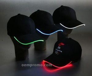 Khaki Light Up Baseball Cap W/ Blue LED Visor Edging
