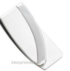 Silver Polished Money Clip With Matte Accent