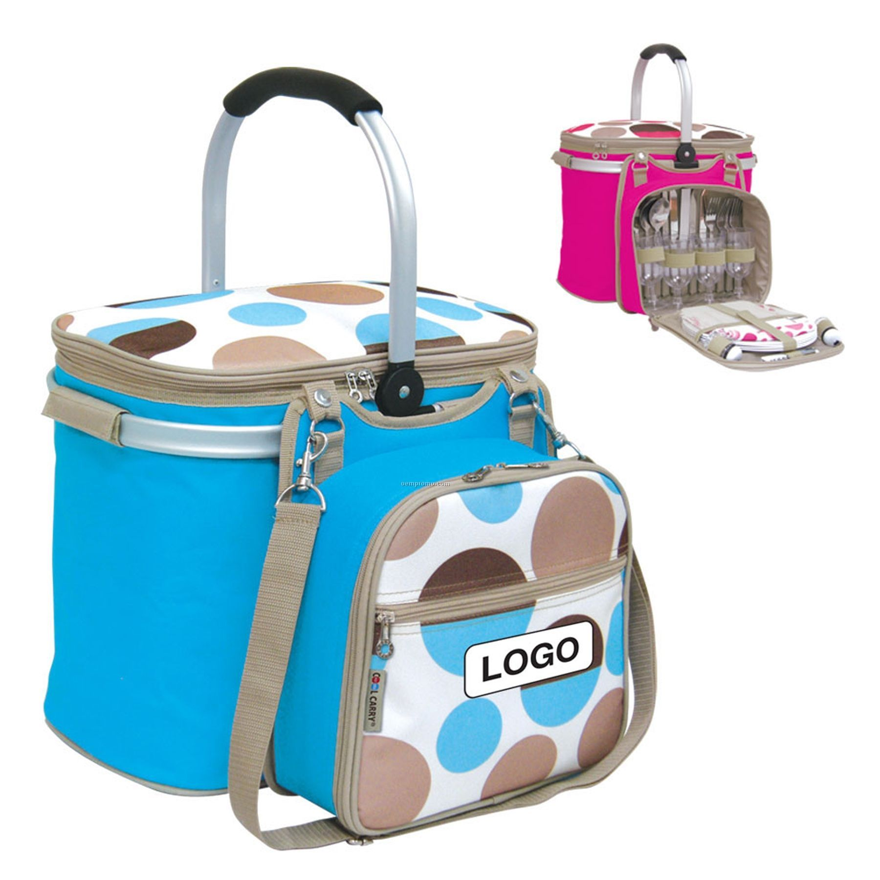 4 Person Insulated Picnic Basket W/ Removable Accessory Bag