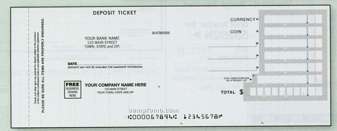 Quick Entry Deposit Ticket Book (3 Part)