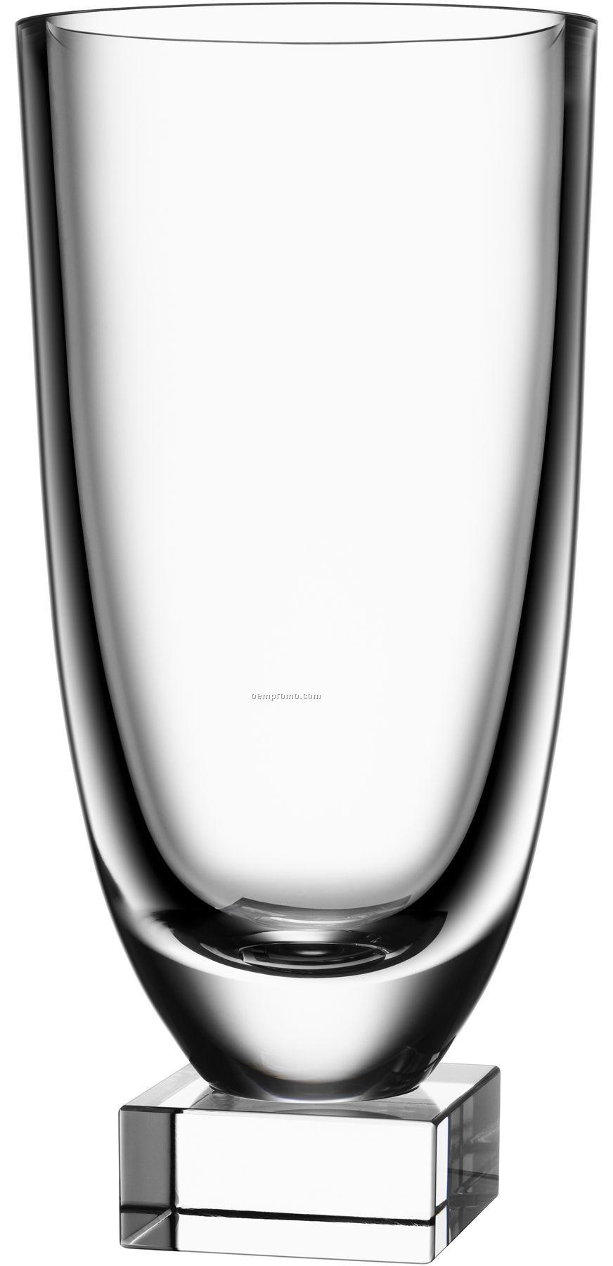 Beyond Crystal Vase W/ Square Base By Efva Attling