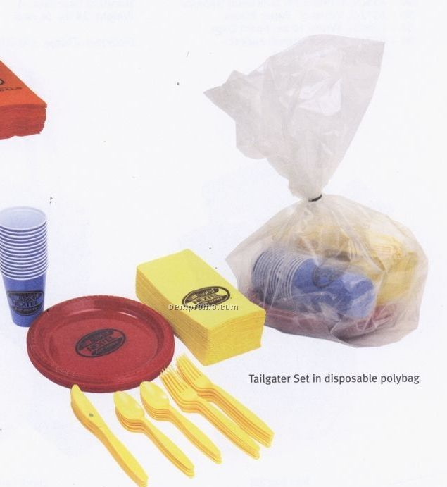 Tailgater Plastic Set W/ Cups & Plates Packaged In Disposable Bag