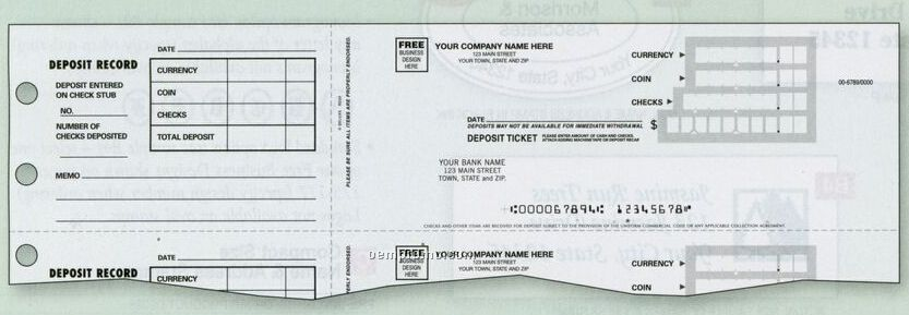 3 On A Page Deposit Ticket (2 Part)