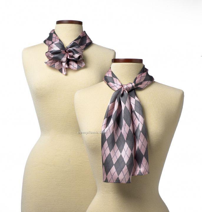 """Wolfmark Argyle Silk Scarf - Pink (45""""X8"""")"""
