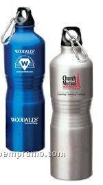 25 Oz. Aluminum Water Bottle With Carabiner, Curve Grip Shape -silver, Blue