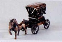 Early American Bronze Metal Pencil Sharpener - Horse & Carriage