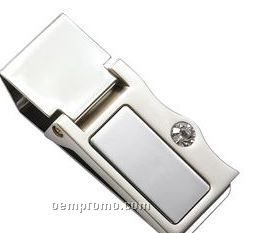 2-tone Money Clip With Stone