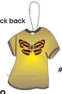Brown & Yellow Butterfly T-shirt Zipper Pull