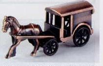 Early American Bronze Metal Pencil Sharpener - Coach W/ Horse
