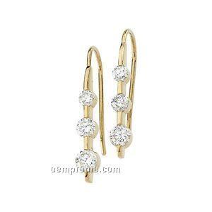 Ladies' 14ky 1 Ct Tw Diamond Round 3 Stone Earring